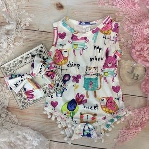 Other - Boutique Baby Girls Spring Time Romper 2pc